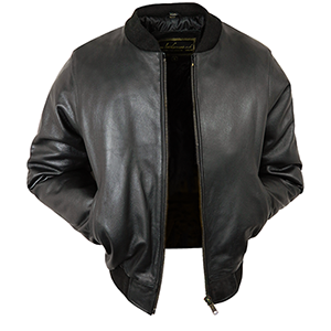 Joel Black Leather Bomber Jacket