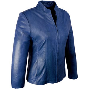 Caroline Blue Leather Jacket
