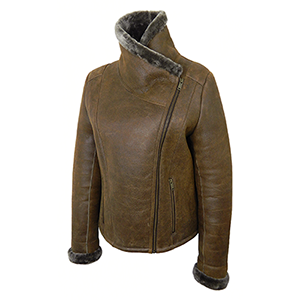 Funnel-neck view of the Cassie Sheepskin Jacket