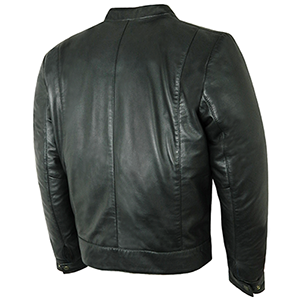 Back View of Black Leather Cooper Jacket