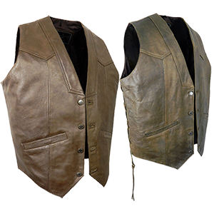 Antique Brown Elite Leather Waistcoat