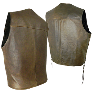 Back view of Elite Brown Leather Waistcoat