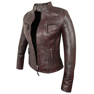 Jodie Wine Leather Jacket