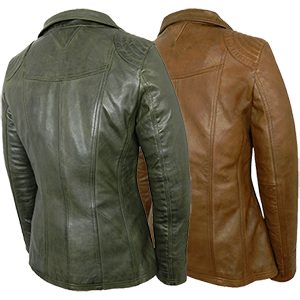 Back View of the Laura Leather Jacket