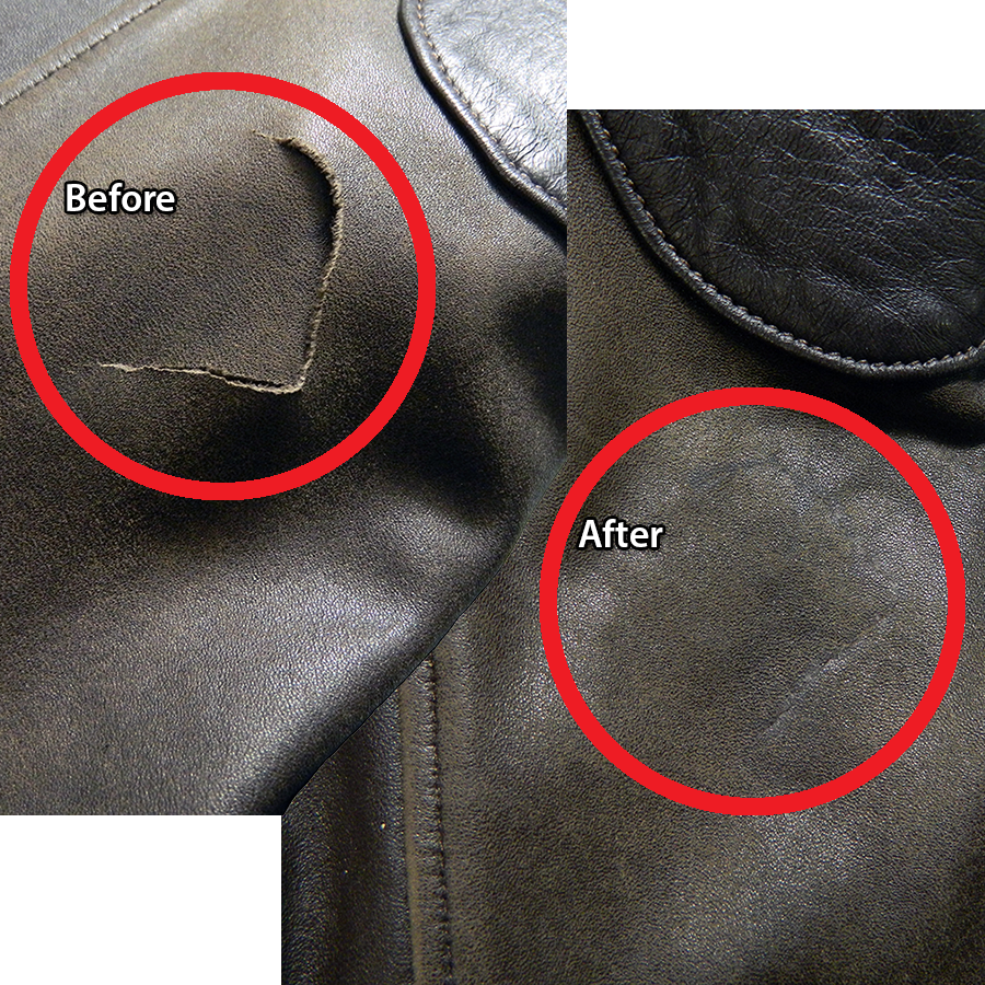 Repair tear in leather jacket