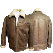 Classic Antique Brown Sheepskin Jacket