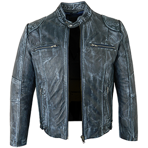Tom Distressed Blue Leather Jacket