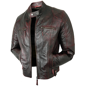Tom Distressed Red Leather Jacket