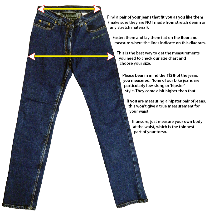 Length Measure the length from the waist to the floor or the length you want, you should measure the length while wearing your shoes. To get more accurate measurements also measure the outer length of your existing jeans and input the length which you find greater Please note this is .